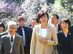 2014年8月2日、サンパウロ市イタケーラ区のカルモ公園でブラジル桜イペー連盟が開催した『第36回桜祭り』に出席した安倍昭恵首相夫人