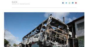 4日未明にフォルタレーザ市で焼き討ちに遭ったバスの残骸(4日付G1サイトの記事の一部)
