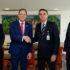 左から、ブラジルのエルネスト・アラウージョ外相、ベネズエラのマルチン最高裁長官、ボウソナロ大統領、シノシ米州機構補佐官(Alan Santos/PR)