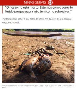 「俺達の川は死んだ」と嘆く先住民の様子を伝える29日付G1サイトの記事の一部
