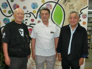 (左から)大瀧渉外部長、籠原名誉会長、土屋会長