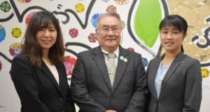 来社した設樂さん、黒澤会長、安蒜さん(左から)