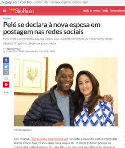 2016年12月にペレと結婚した青木シベレ・マルシアさんの記事(ヴェージャ誌サイト2016年7月10日付)
