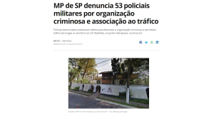 「53人の軍警が犯罪組織に協力し、起訴される」と伝えるG1サイト