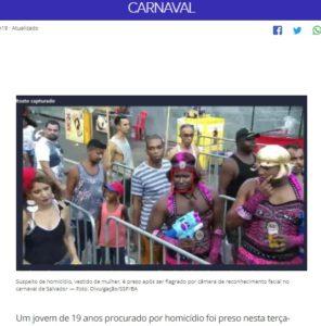 サルバドール市でカーニバルを楽しんでいたネリ容疑者(前列右から2人目、顔に四角いマークがついた人物、5日付G1サイトの記事の一部)