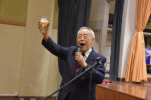 相田名誉会長が乾杯の音頭を取った