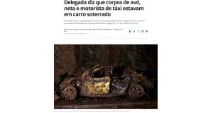 土砂崩れと落石に見舞われ、跡形もなくなった祖母と孫が乗っていたタクシー(9日付のG1サイトの記事の一部)