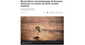 原生林伐採面積はブラジルがトップだったと報じた4月25日付G1サイトの記事の一部