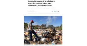 ゴミ捨て場をあさるベネズエラ人(2日付G1サイトの記事の一部)