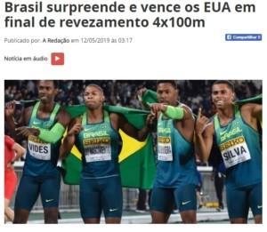 400メートルリレーで優勝した4人(左からヴィデス、ナシメント、アンドレ、シウヴァ、ポレミカ・パライバ紙サイトの記事の一部より)