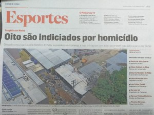 前会長を含む関係者8人に殺人の嫌疑がかけられると報じた地元紙の記事
