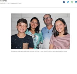ファビアノ、デボラ夫妻と子供達(遺体がブラジルに送られた事を報じた3日付G1サイトの記事の一部)
