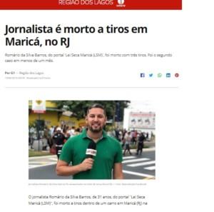 バロス氏殺害について報じた19日付G1サイトの記事の一部
