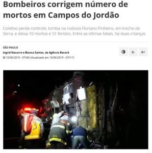 事故の様子を伝えるブラジルのニュースサイト(10日付けR7より)