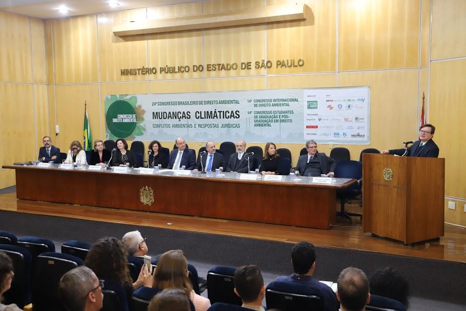 サンパウロの連邦検察庁本部で開催された第24回ブラジル環境法会議の開幕セレモニーの様子