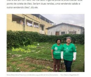 コレティヴォ・デッド・ヴェルデで働く婦人達と同団体の畑(6月28日付G1サイトの記事の一部)