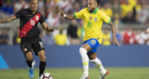 後半途中から出場したネイマールだったが、2戦連続ゴールはならなかった(Lucas Figueiredo/CBF)