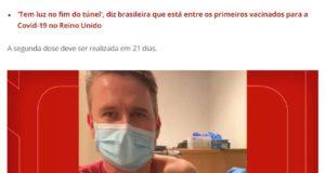 英国で接種を受け、「普通の感冒用接種と同じ」と語るブラジル人医師のリカルド・ペトラコ氏(12月22日付G1サイトの記事の一部)