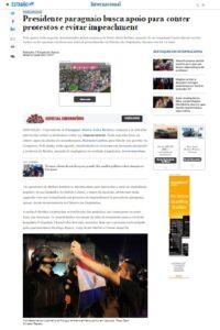 弾劾請求の声が高まり、ベニテス大統領が対処に躍起と伝える8日付エスタード紙の記事の一部