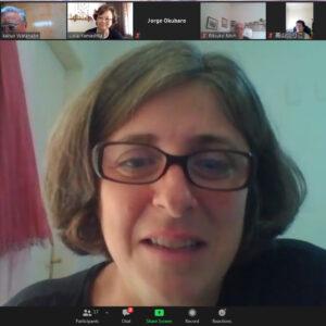 プリシーラ・フェレイラ・ペラッツォ教授がオンライン講演する様子