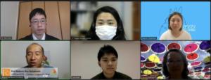 取材に応じる6人。上段左からJICA南米部の藤井さん、海外日系人協会の佐藤さん、寺島さん。下段左からOB山本さん、アサトさん、OG末永さん