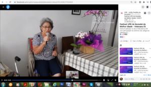 2020年にオンラインで催されたパウリスタ・カラオケ連盟のカラオケ大会の一場面