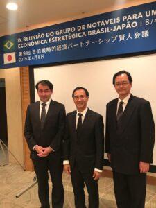2019年4月に開催された第9回日伯戦略的経済パートナーシップ賢人会議でサンパウロ総領事(当時)と水谷氏