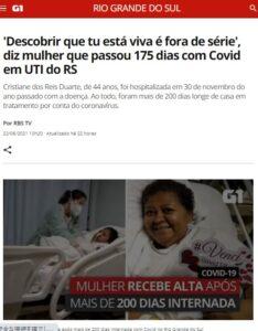 200日以上入院し、19日に帰宅したドゥアルテ氏について報じる22日付G1サイトの記事の一部