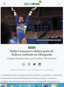 ナディア・コマネチがレベッカに祝辞を贈ったと報じる7月29日付アジェンシア・ブラジルの記事の一部
