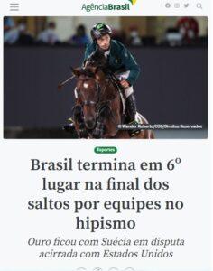 東京五輪の乗馬でブラジルが6位に入賞と報じる7日付アジェンシア・ブラジルの記事の一部