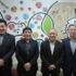 来社した沖縄県人会一行。左から二人目が高良律正会長