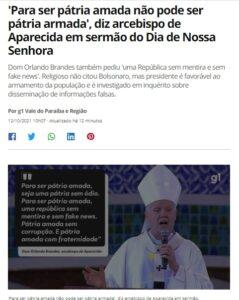 「愛される国であるためには武器は排除されるべき」と語るブランデス大司教(12日付G1サイトの記事の一部)